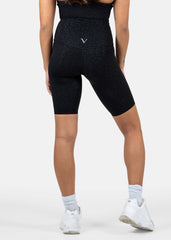 Ultra Flex Seamless Biker Shorts Black Leopard