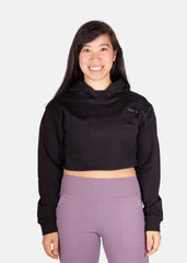 Power Up Cropped Hoodie Black