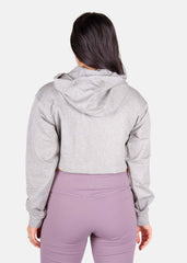 Power Up Cropped Hoodie Horizon Grey