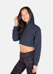 Power Up Cropped Hoodie Midnight Blue