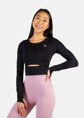 Hyper Flow Cropped Long Sleeve Black
