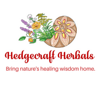 floral and shell logo for Hedgecraft Herbals