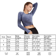 Womens Yoga Shirts Long Sleeve Crop Top Compression Sportwear