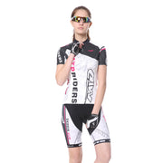 Womens Cycling Jersey Suits Short Sleeve + 3D Padded Shorts Bicycle Clothing White