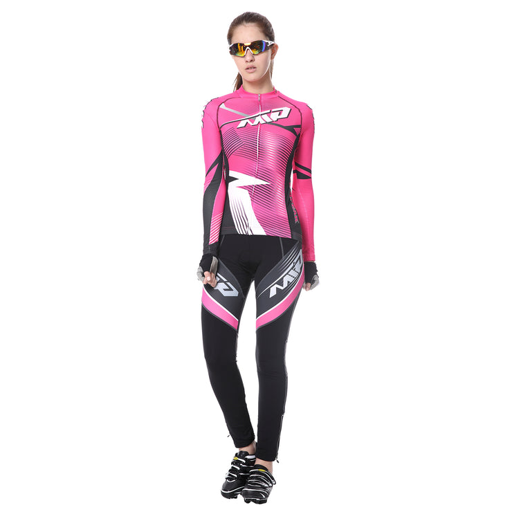 Front side - Women cycling suit in Rose colour