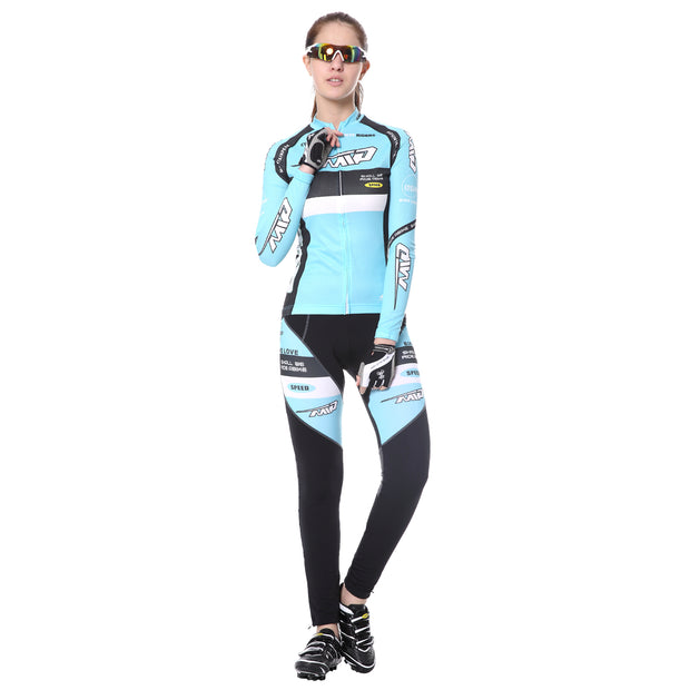 Front side - Women wearing a cycling suit in light blue colour