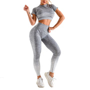 Womens Gym Sportwear Set Short Sleeve Yoga Shirt Fitness Leggings