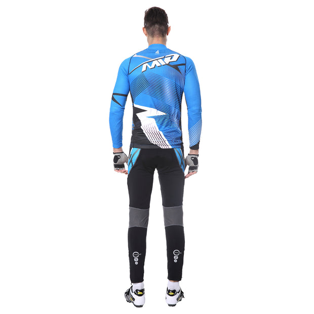 Back side - Men wearing a cycling suit in blue colour