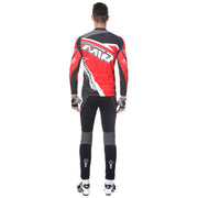 back side - Men wearing a cycling suit in red colour
