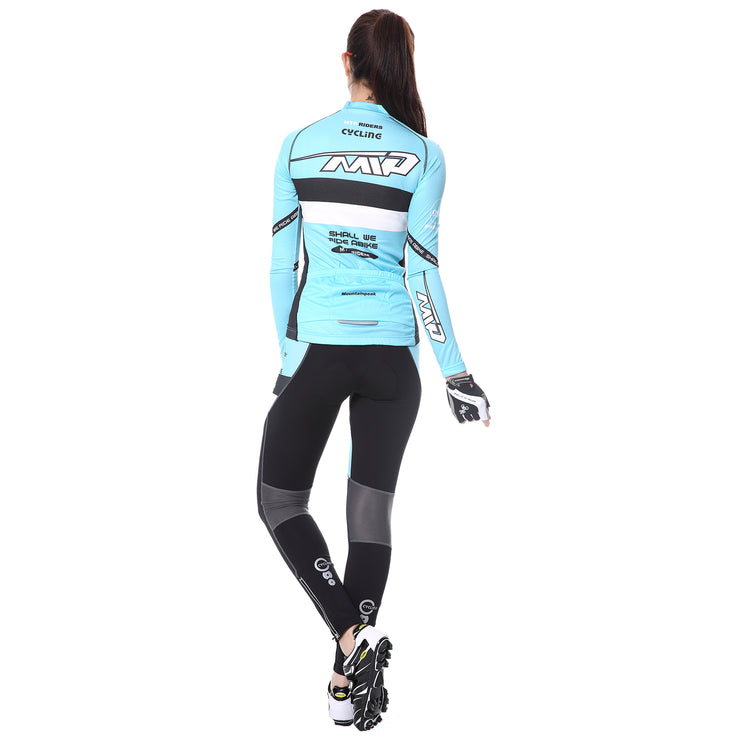 back side - Women wearing a cycling suit in light blue colour