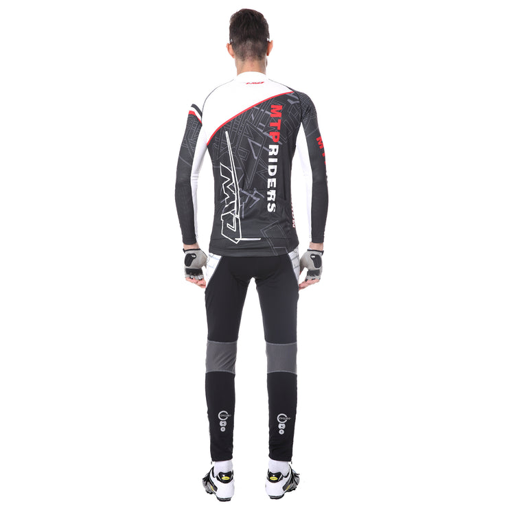 back side - Men wearing a cycling suit in black colour