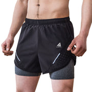 Extreme Pop Mens Running Shorts 2-in-1 Quick Dry Breathable Gym Short Pants UK Brand