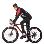 Mens Winter Thermal Cycling Jacket Set Windproof MTB Pants Bicycle Suit