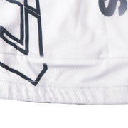 details cycling suit in white colour. Under back large pockets,there is one 0.8cm X 10cm reflective tape,for greater visibility on night for safety