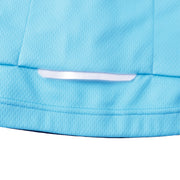 details cycling suit in light blue colour . Under back large pockets,there is one 0.8cm X 10cm reflective tape,for greater visibility on night for safety