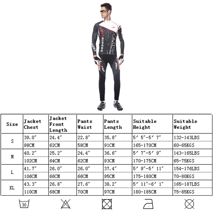 Mens Cycling Suits Long Sleeved Jackets and Pants MTB Jersey Set