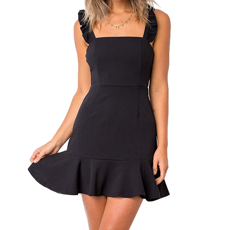 Extreme Pop Women's Skater Dresses Lotus Leaf Edge Mini Tops size S M L XL black