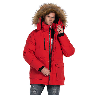 Mens Down Puff Parka Jacket Waterproof Hooded Windbreaker Coat Khaki Red Blue size S M L XL