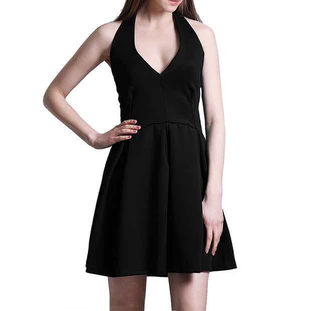 Womens Skater Dress Lotus Leaf Edge Mini Tops Size S M L BLACK