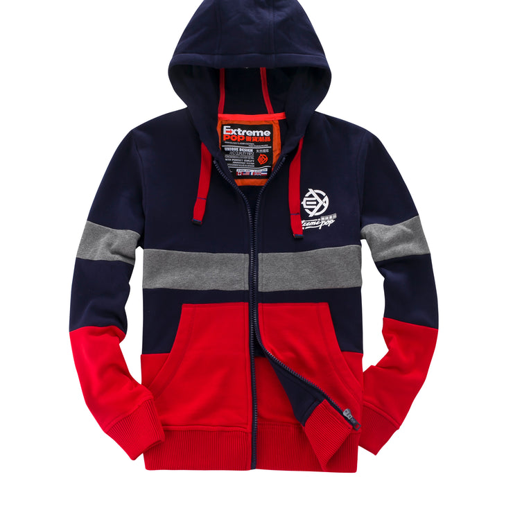 Contrast Colors Hooded Zip-Up Jumper