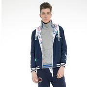 Men's  Hoodie Zip through Reversible Water Proof digital print Jacket size S M L XL  Blue or Navy