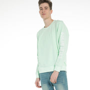 Men's Emboss print stretch Sweatshirt size S M L XL XXL Blue Aqua