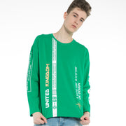 Men's  Print Sporty Sweatshirt size S M L XL  Green Gray