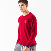 Men's Raglan Double Layers Bottom Sweater  S M L XL Red Grey