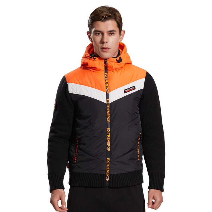 Men Knitted and Woven Padded Jacket