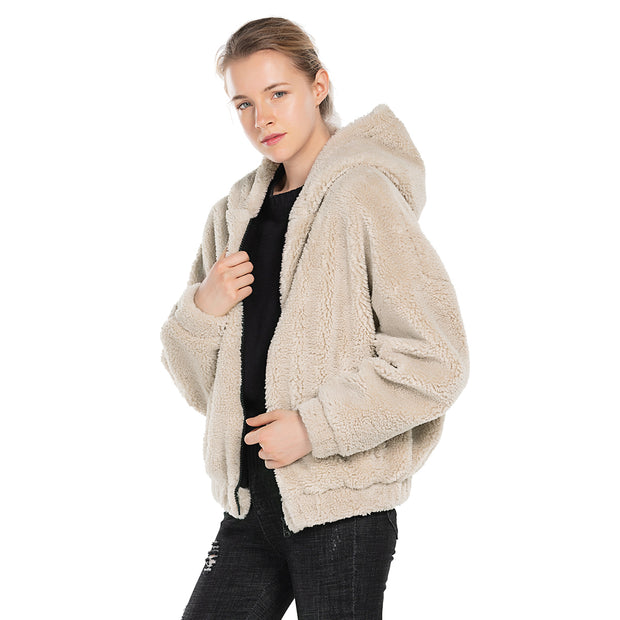 front side women oversized jacket sherpa Pink
