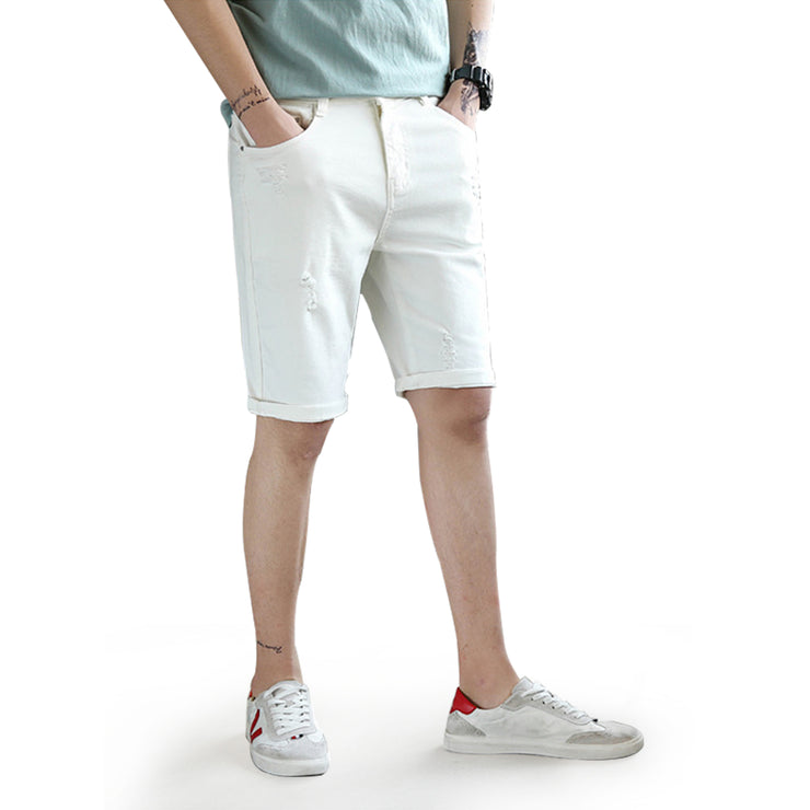 UK Mens Denim Shorts Summer Ripped Distress Stretch Turn Up Jeans slim Shorts