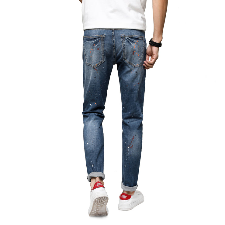 Men's Skinny Stretch Spray Ripped Blue Jeans