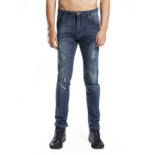 Men's Skinny Stretch Ripped Blue Jeans