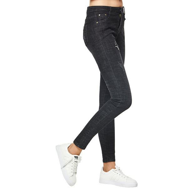 Women's Ripped Stretch Skinny Jeans Black size S M L XL