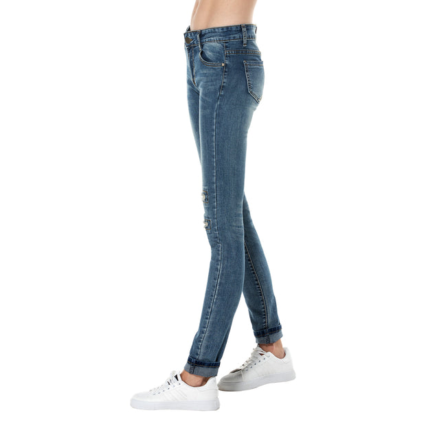 Skinny Ripped Blue Jean