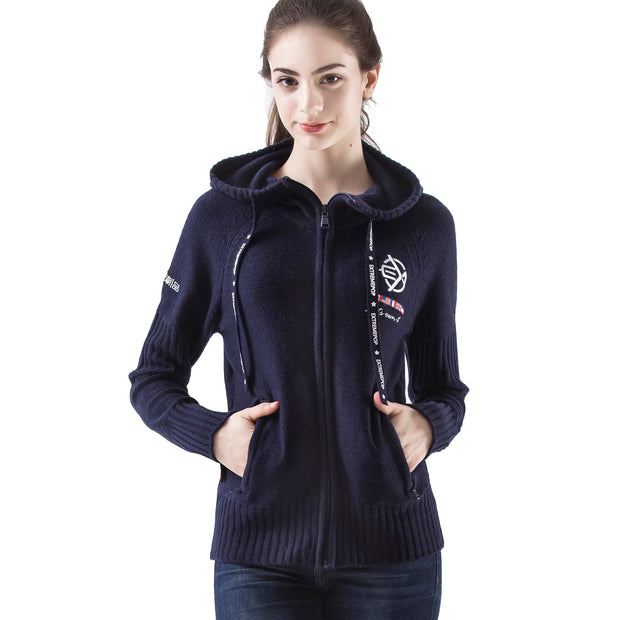 Women's Woolen Chunky Raglan Knitwear Zip-Up Hoodie