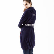 Longline Knited Fleece lined Zip-Up Hoodie