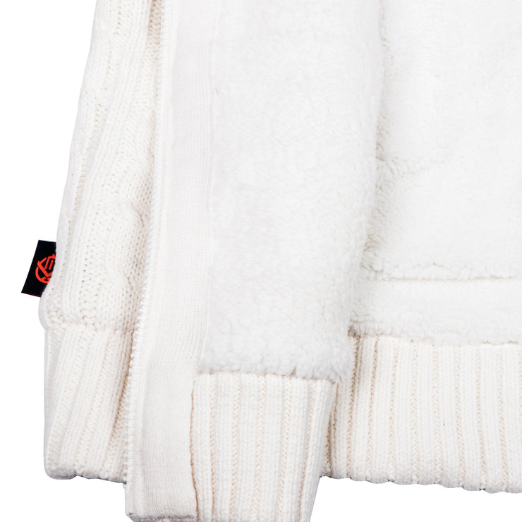 Jacquard Chunky Knitted Fur Lined Hooded Jacket