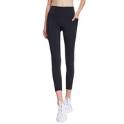 Womens Sports Leggings Yoga Cropped Pants High Waist with Pockets UK Brand