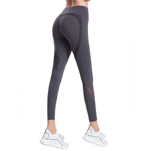 Womens Leggings Fitness Yoga Pants Mesh Patchwork Workout Cropped UK Brand
