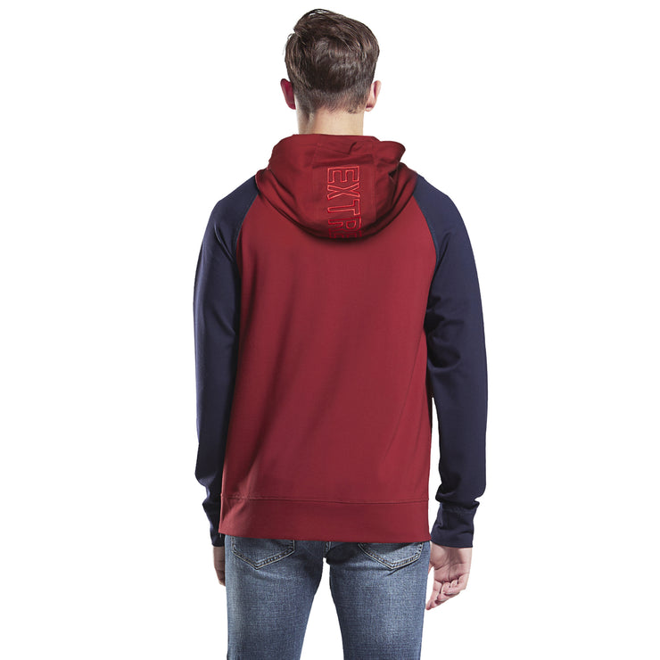 Men's Hoodie Everyday Sleeve Burgundy and Navy Raglan