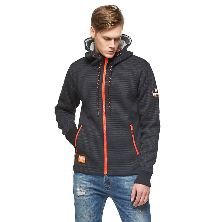 Textured Knit Bonded Cotton Jersey  Hoodie Jacket