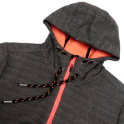 Men's Jacquard heather bonded Hoodie Jacket S M L XL Dark Grey