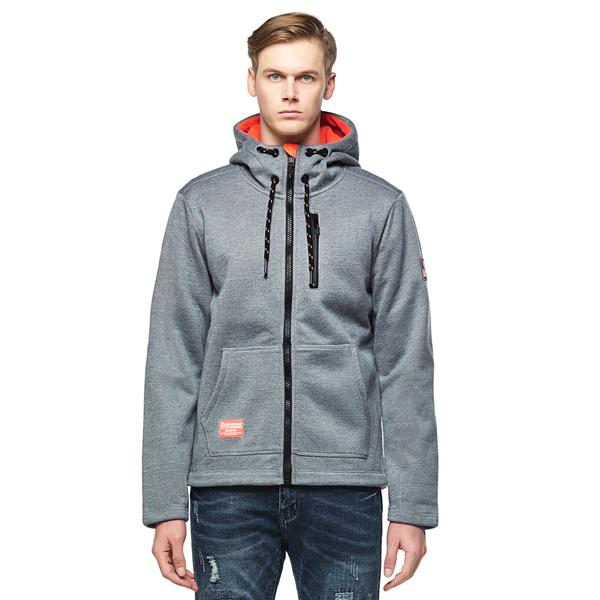 Men's Bonded Zip-up Hoodie Grey size S M L XL