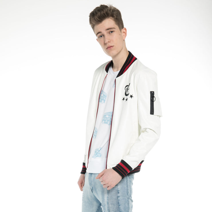 Washed Faux Leather Baseball Jacket