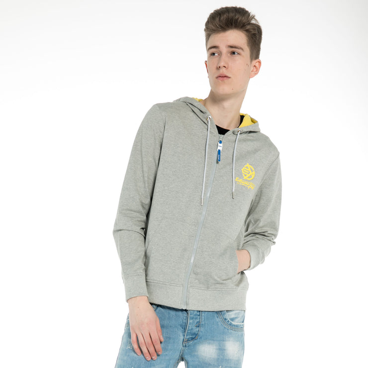 Mens Distressed Hooded Sweatshirt RRP£40 Zip-Up Hoodie Jacket Pullover Fitted