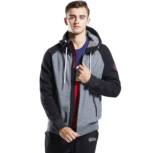 Men's Bonded Full-Zip Hoodie - Fleece Jacket black grey size S M L XL