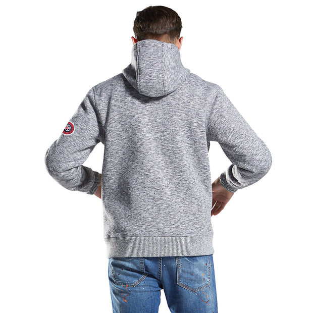 Men's Slub Knit Bond Fleece Jacket size S M L XL Grey Navy