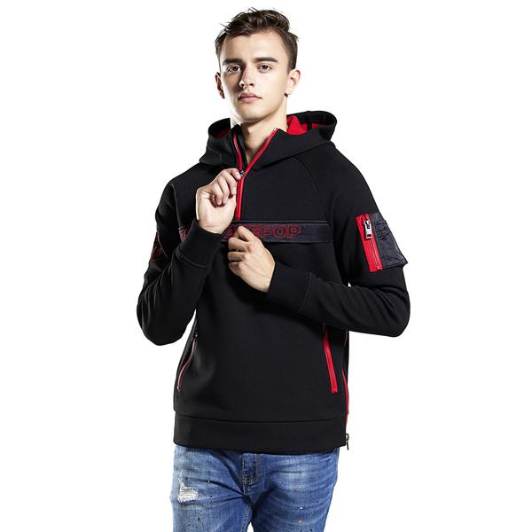 Mens hoodie Half-zip Mesh Fabric Sweatshirt fleece