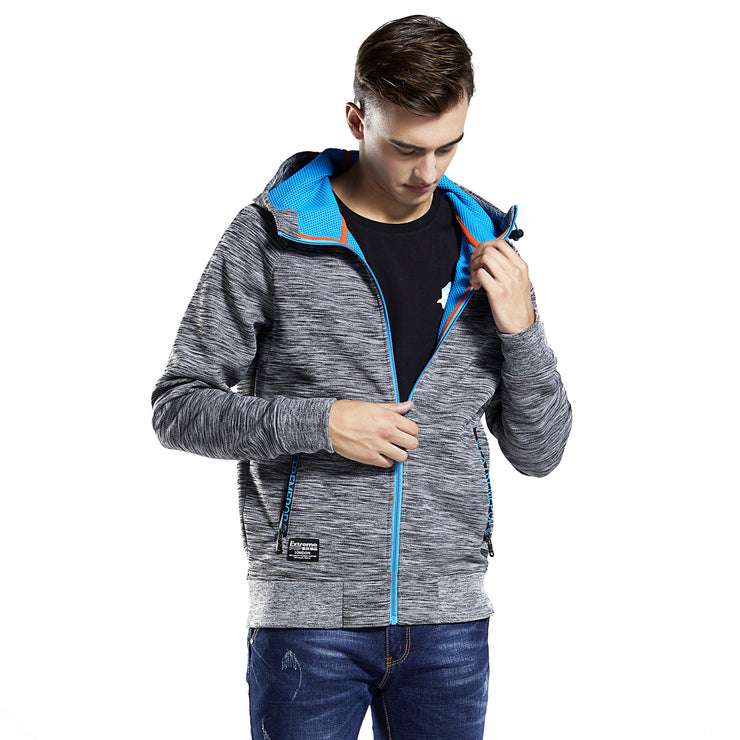 Mens Hoodie Sweatshirt Cotton Hooded Zip-Up Thru Outwear Jacket Jumper